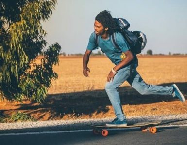commuting on a longboard