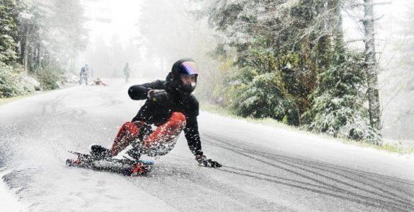 longboarding in snow