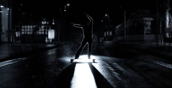 skateboarding at night