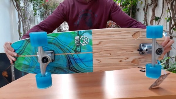 Flow surfskate deck bottom side